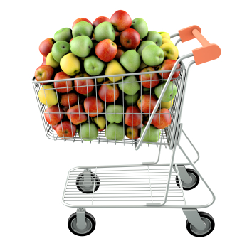 Apples in a shopping cart. High res 3d render. Isolated on white background